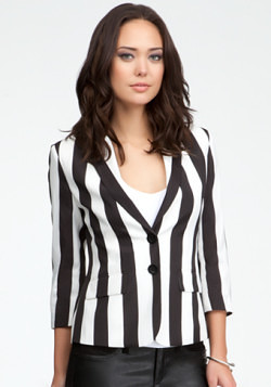 bebe Two Button Stripe Jacket